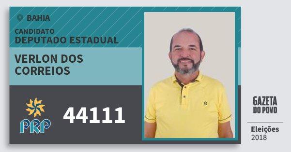 Santinho Verlon dos Correios 44111 (PRP) Deputado Estadual | Bahia | Eleições 2018