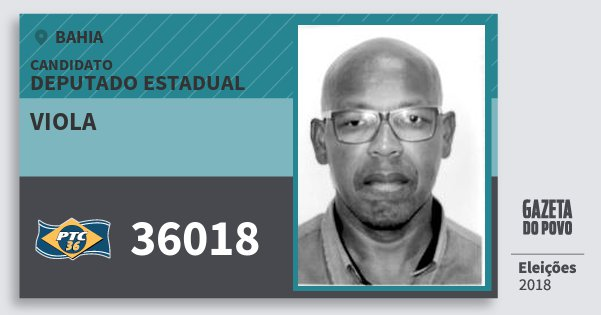 Santinho Viola 36018 (PTC) Deputado Estadual | Bahia | Eleições 2018