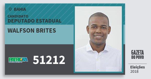 Santinho Walfson Brites 51212 (PATRI) Deputado Estadual | Bahia | Eleições 2018