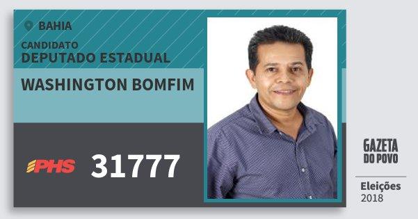Santinho Washington Bomfim 31777 (PHS) Deputado Estadual | Bahia | Eleições 2018