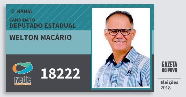 Santinho Welton Macário 18222 (REDE) Deputado Estadual | Bahia | Eleições 2018