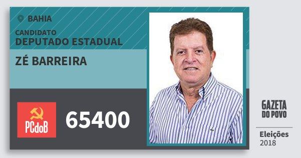 Santinho Zé Barreira 65400 (PC do B) Deputado Estadual | Bahia | Eleições 2018