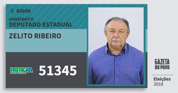 Santinho Zelito Ribeiro 51345 (PATRI) Deputado Estadual | Bahia | Eleições 2018