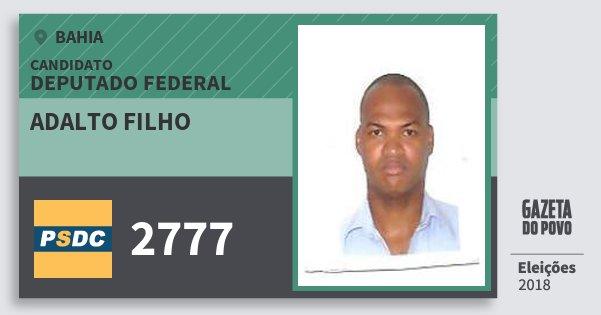 Santinho Adalto Filho 2777 (DC) Deputado Federal | Bahia | Eleições 2018