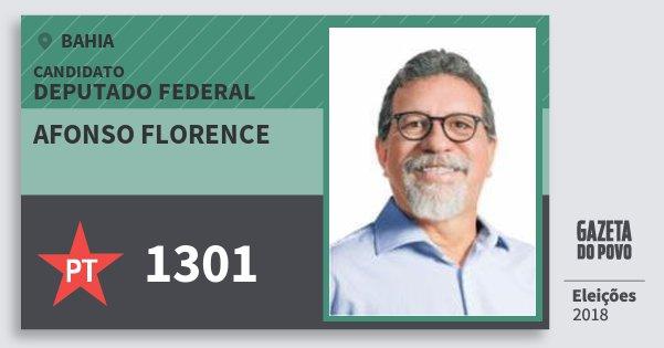 Santinho Afonso Florence 1301 (PT) Deputado Federal | Bahia | Eleições 2018