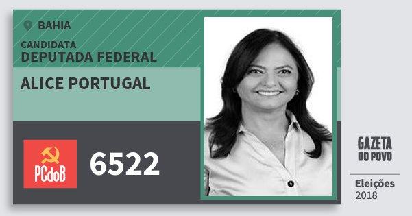 Santinho Alice Portugal 6522 (PC do B) Deputada Federal | Bahia | Eleições 2018