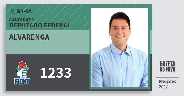Santinho Alvarenga 1233 (PDT) Deputado Federal | Bahia | Eleições 2018