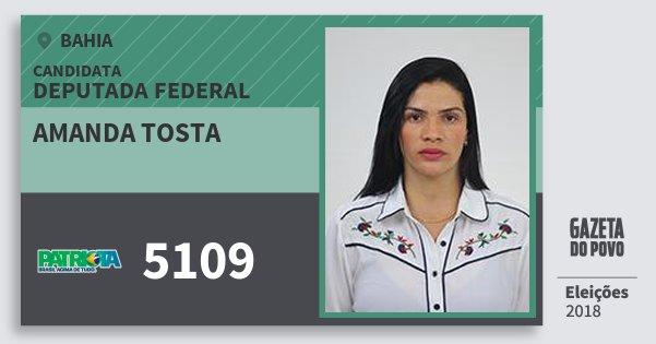 Santinho Amanda Tosta 5109 (PATRI) Deputada Federal | Bahia | Eleições 2018