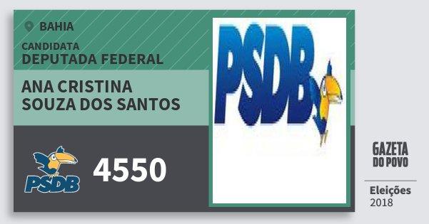 Santinho Ana Cristina Souza dos Santos 4550 (PSDB) Deputada Federal | Bahia | Eleições 2018