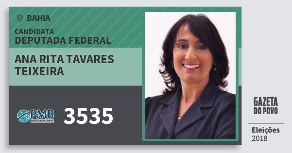 Santinho Ana Rita Tavares Teixeira 3535 (PMB) Deputada Federal | Bahia | Eleições 2018