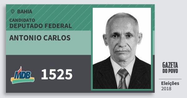 Santinho Antonio Carlos 1525 (MDB) Deputado Federal | Bahia | Eleições 2018
