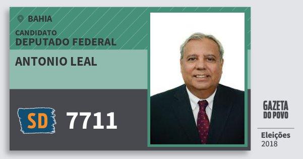 Santinho Antonio Leal 7711 (SOLIDARIEDADE) Deputado Federal | Bahia | Eleições 2018
