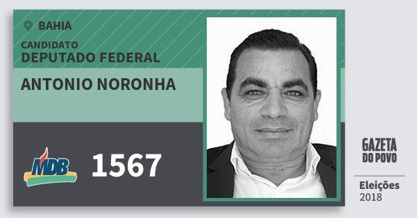 Santinho Antonio Noronha 1567 (MDB) Deputado Federal | Bahia | Eleições 2018