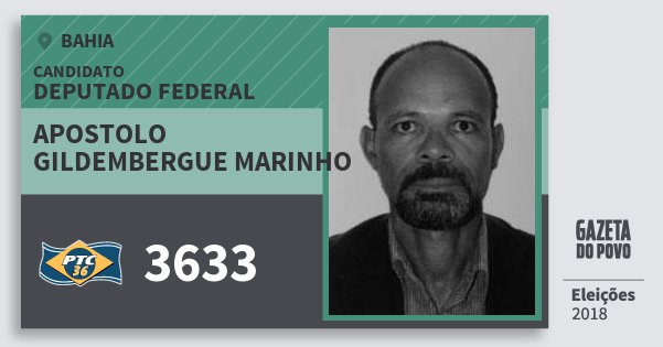 Santinho Apostolo Gildembergue Marinho 3633 (PTC) Deputado Federal | Bahia | Eleições 2018