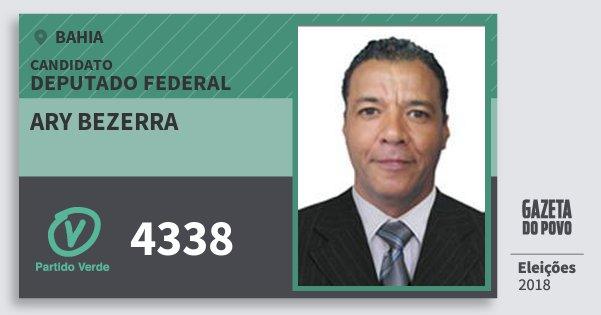Santinho Ary Bezerra 4338 (PV) Deputado Federal | Bahia | Eleições 2018