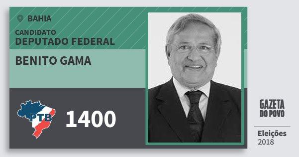 Santinho Benito Gama 1400 (PTB) Deputado Federal | Bahia | Eleições 2018