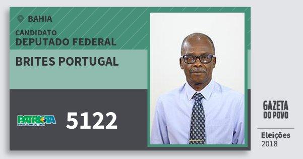 Santinho Brites Portugal 5122 (PATRI) Deputado Federal | Bahia | Eleições 2018
