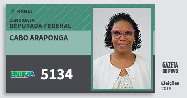 Santinho Cabo Araponga 5134 (PATRI) Deputada Federal | Bahia | Eleições 2018