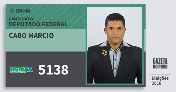 Santinho Cabo Marcio 5138 (PATRI) Deputado Federal | Bahia | Eleições 2018