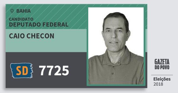 Santinho Caio Checon 7725 (SOLIDARIEDADE) Deputado Federal | Bahia | Eleições 2018