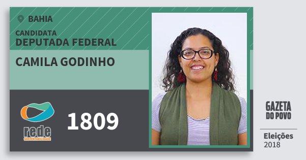 Santinho Camila Godinho 1809 (REDE) Deputada Federal | Bahia | Eleições 2018