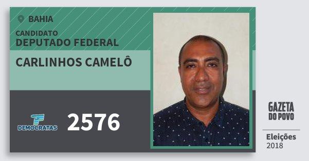Santinho Carlinhos Camelô 2576 (DEM) Deputado Federal | Bahia | Eleições 2018