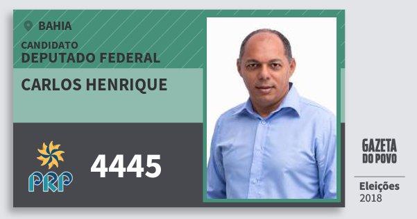 Santinho Carlos Henrique 4445 (PRP) Deputado Federal | Bahia | Eleições 2018