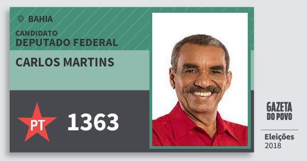 Santinho Carlos Martins 1363 (PT) Deputado Federal | Bahia | Eleições 2018