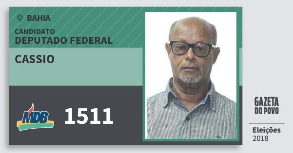 Santinho Cassio 1511 (MDB) Deputado Federal | Bahia | Eleições 2018