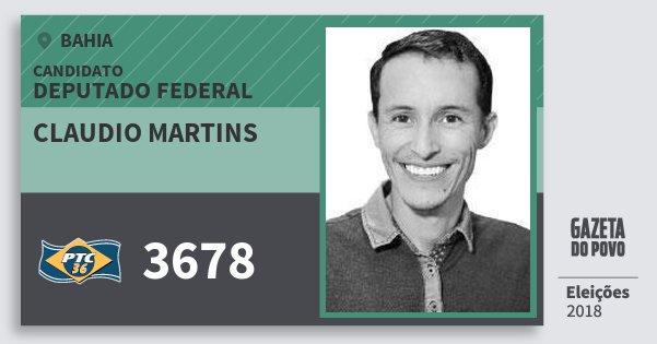 Santinho Claudio Martins 3678 (PTC) Deputado Federal | Bahia | Eleições 2018