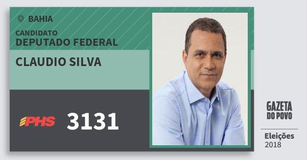 Santinho Claudio Silva 3131 (PHS) Deputado Federal | Bahia | Eleições 2018