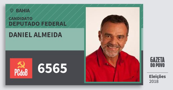 Santinho Daniel Almeida 6565 (PC do B) Deputado Federal | Bahia | Eleições 2018