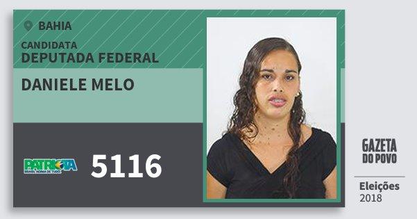 Santinho Daniele Melo 5116 (PATRI) Deputada Federal | Bahia | Eleições 2018