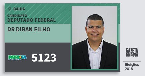 Santinho Dr Diran Filho 5123 (PATRI) Deputado Federal | Bahia | Eleições 2018