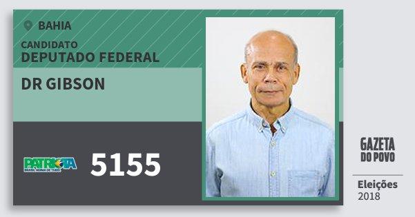 Santinho Dr Gibson 5155 (PATRI) Deputado Federal | Bahia | Eleições 2018