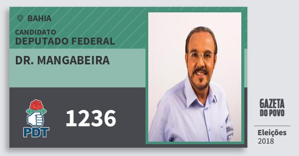 Santinho Dr. Mangabeira 1236 (PDT) Deputado Federal | Bahia | Eleições 2018