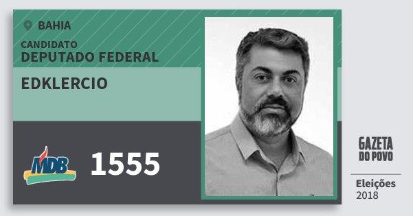 Santinho Edklercio 1555 (MDB) Deputado Federal | Bahia | Eleições 2018
