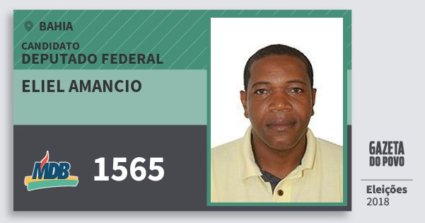Santinho Eliel Amancio 1565 (MDB) Deputado Federal | Bahia | Eleições 2018