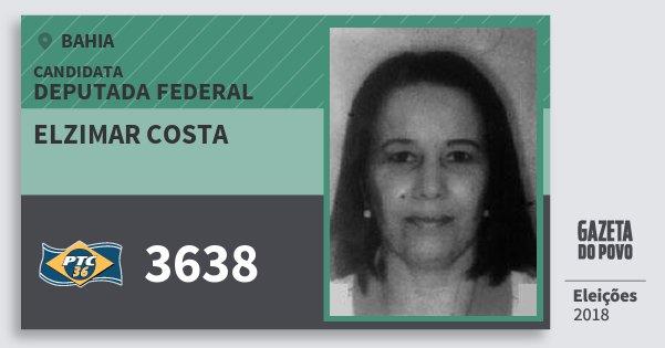 Santinho Elzimar Costa 3638 (PTC) Deputada Federal | Bahia | Eleições 2018
