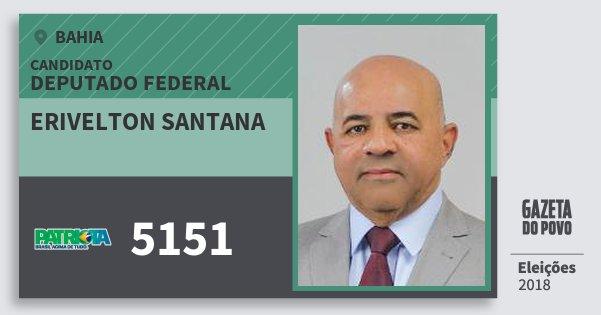 Santinho Erivelton Santana 5151 (PATRI) Deputado Federal | Bahia | Eleições 2018