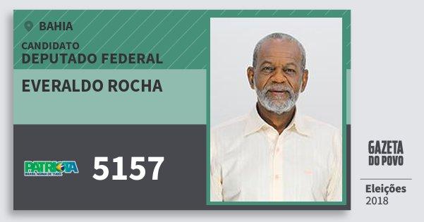 Santinho Everaldo Rocha 5157 (PATRI) Deputado Federal | Bahia | Eleições 2018