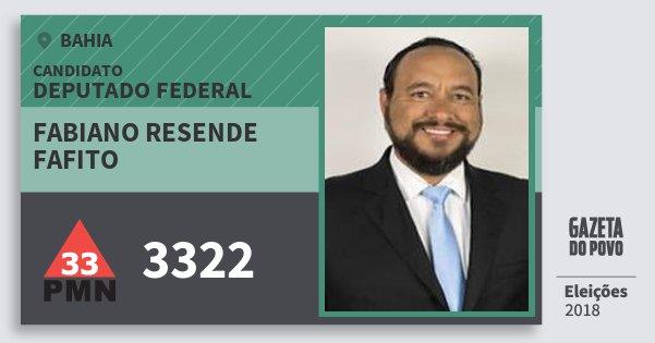 Santinho Fabiano Resende Fafito 3322 (PMN) Deputado Federal | Bahia | Eleições 2018