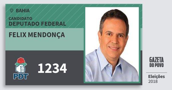 Santinho Felix Mendonça 1234 (PDT) Deputado Federal | Bahia | Eleições 2018