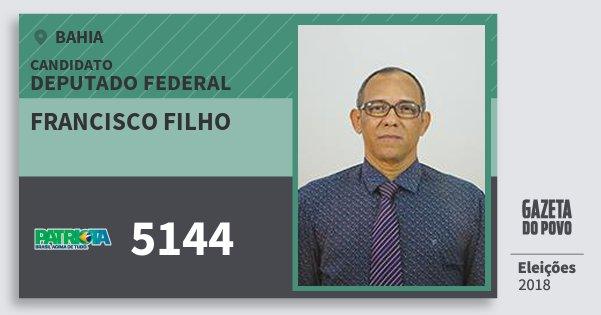 Santinho Francisco Filho 5144 (PATRI) Deputado Federal   Bahia   Eleições 2018