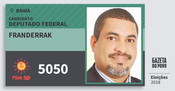 Santinho Franderrak 5050 (PSOL) Deputado Federal | Bahia | Eleições 2018