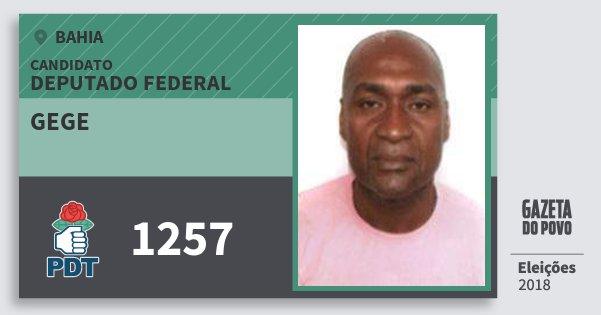 Santinho Gege 1257 (PDT) Deputado Federal | Bahia | Eleições 2018