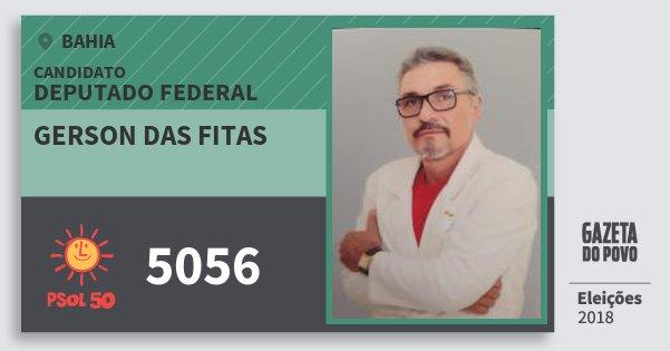 Santinho Gerson das Fitas 5056 (PSOL) Deputado Federal | Bahia | Eleições 2018