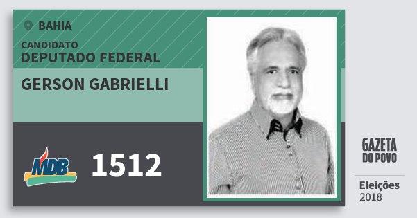 Santinho Gerson Gabrielli 1512 (MDB) Deputado Federal | Bahia | Eleições 2018