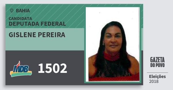 Santinho Gislene Pereira 1502 (MDB) Deputada Federal | Bahia | Eleições 2018
