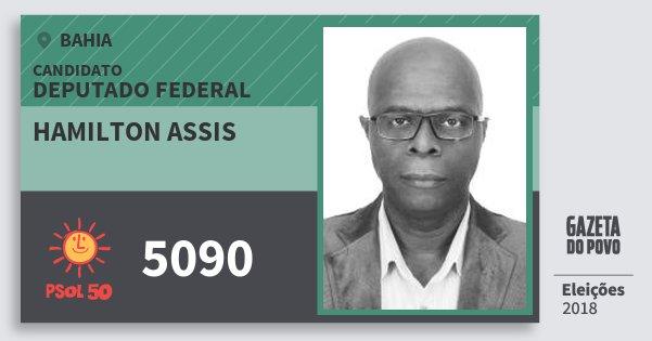 Santinho Hamilton Assis 5090 (PSOL) Deputado Federal | Bahia | Eleições 2018